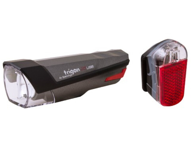spanninga Trigon 25 Rechargeable Light Set black